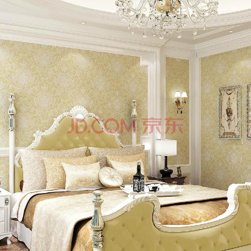 格林威尔 壁纸 卧室客厅 简约欧式无纺布墙纸温馨浪漫 303米黄色 长10图片