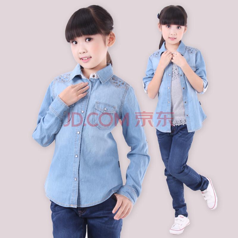 中大童女装儿童秋季牛仔衬衣6s172n
