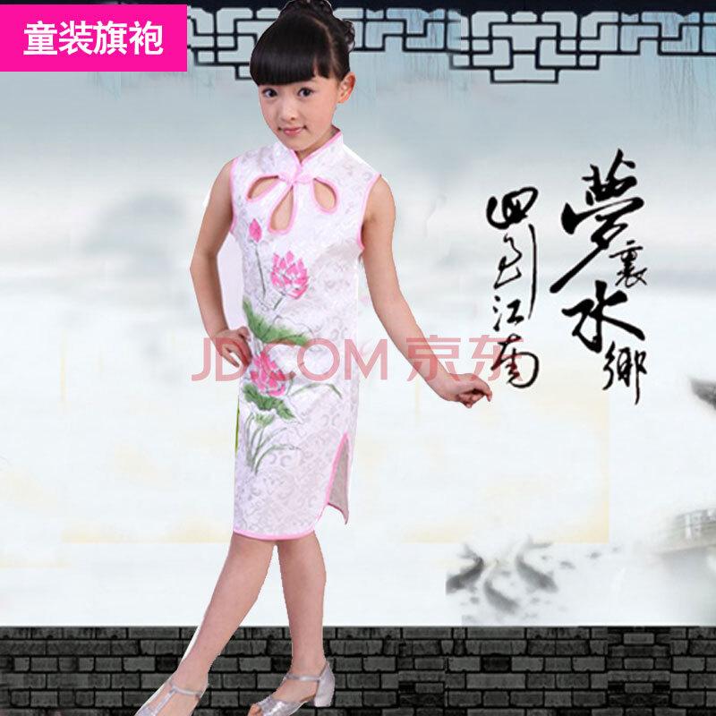 童装旗袍女夏装女童唐装礼服三孔荷花纯棉儿童旗袍裙