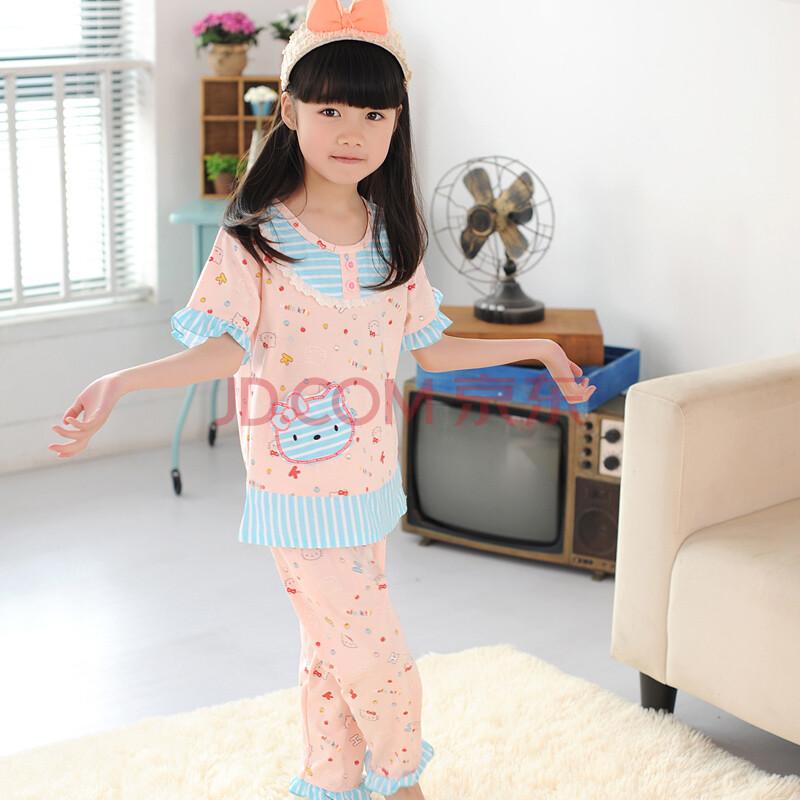 阿拉兜纯棉儿童睡衣 女童夏季睡衣