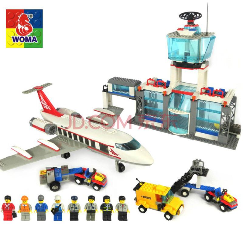 沃马积木拼装玩具乐高式城市city首都大飞机场 儿童节