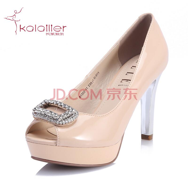 卡莱莉尔 2014夏季新款女凉鞋 性感奢华欧洲钻浅口鱼嘴鞋舒适防滑防水台电镀跟女鞋