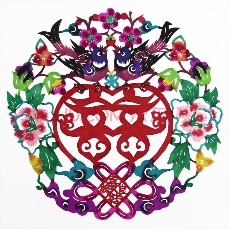 唐贝 手工彩色剪纸窗花 剪纸作品 中国特色出国礼品 手工艺品 剪纸画