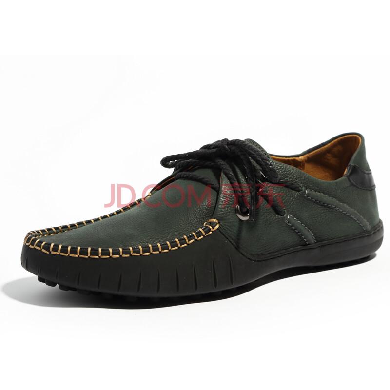 劲王男鞋2013新款真皮舒适豆豆鞋时尚都市休闲鞋头层