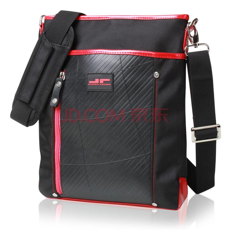 jimmy racing时尚绅士橡胶轮胎纹理单肩斜背包ipad可入 y070-b 红色图片
