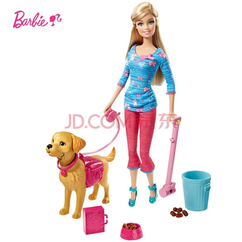 美泰芭比娃娃女孩玩具套装礼盒芭比贪吃狗狗bdh74
