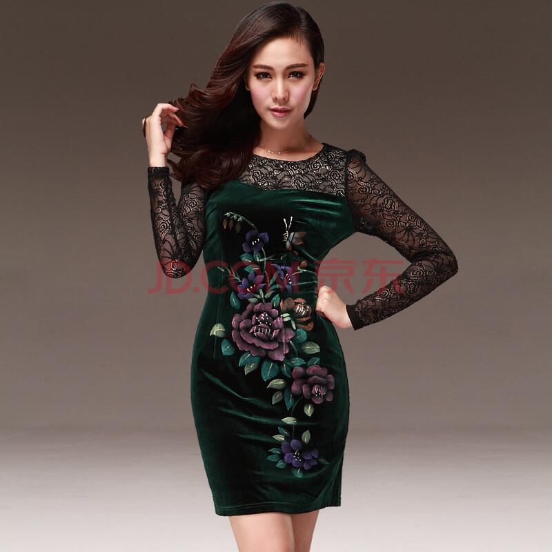 吉洛gillo 2013秋装新款蕾丝拼接牡丹花图案中国风百搭圆领长袖连衣裙