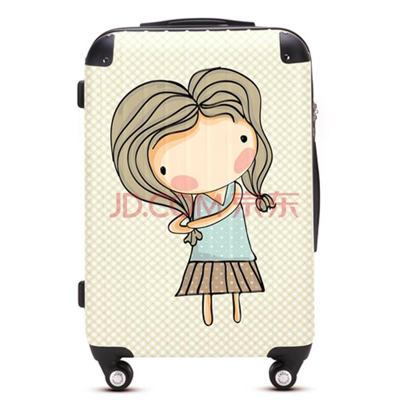 卡通女孩拉杆箱万向飞机轮旅行箱行李登机托运箱shw