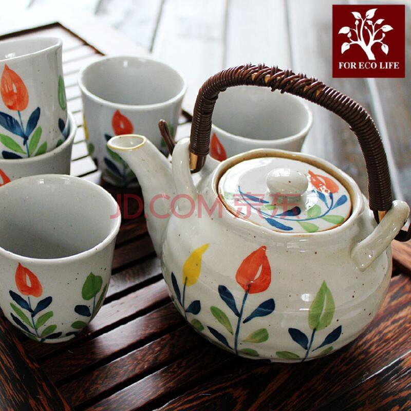 三色草茶壶手绘彩花