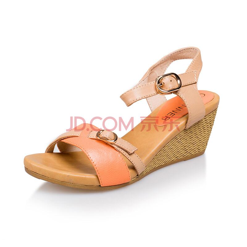 千百度正品 2014夏季新款女鞋羊皮高跟凉鞋