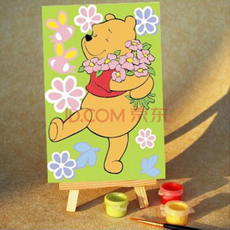 泰莲庭 diy数字油画手绘儿童卡通迷你画彩绘 10x15精装送画架 小熊