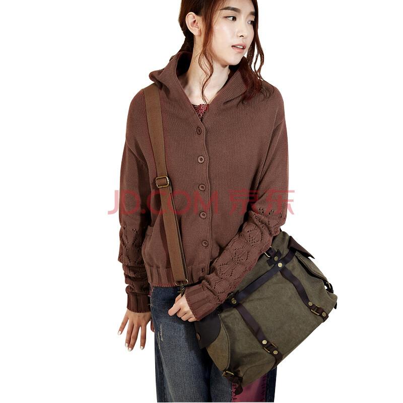 设计师品牌女装森宿 启示路 秋装新款 牛皮拼接帆布两用包 2336001 烟图片