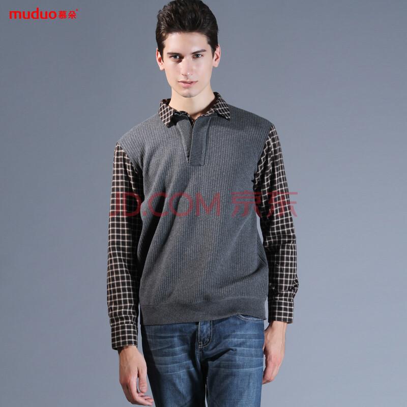 新款男士针织衫双层衬衣领假两件套头加绒加厚保暖内衣衬衫外套m1112
