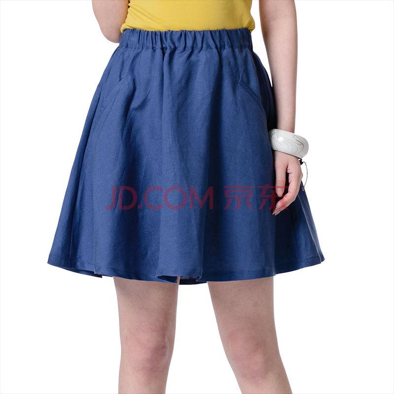 裙亚麻短裙夏半身女打底裙高腰裙裙子