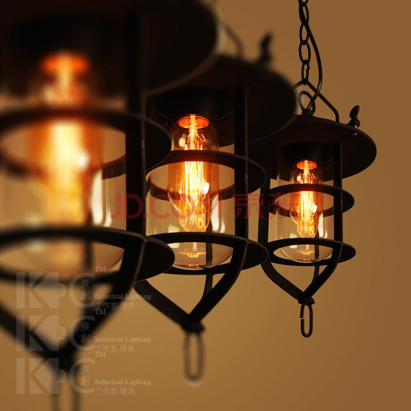 美式酒吧吧台咖啡厅爱迪生工业复古小铁架吊灯灯罩图片