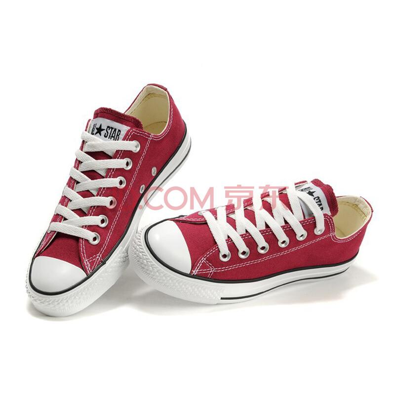 新款特价多色帆布鞋 经典款男女情侣低帮帆布系带运动鞋 匡威同款男士女士帆布鞋 酒红色 36.5偏大一码