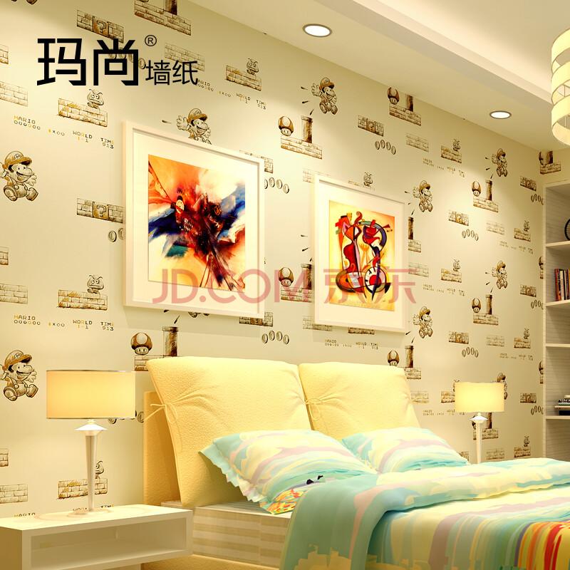 超级玛丽卡通环保无纺布儿童房卧室电视背景壁纸1301