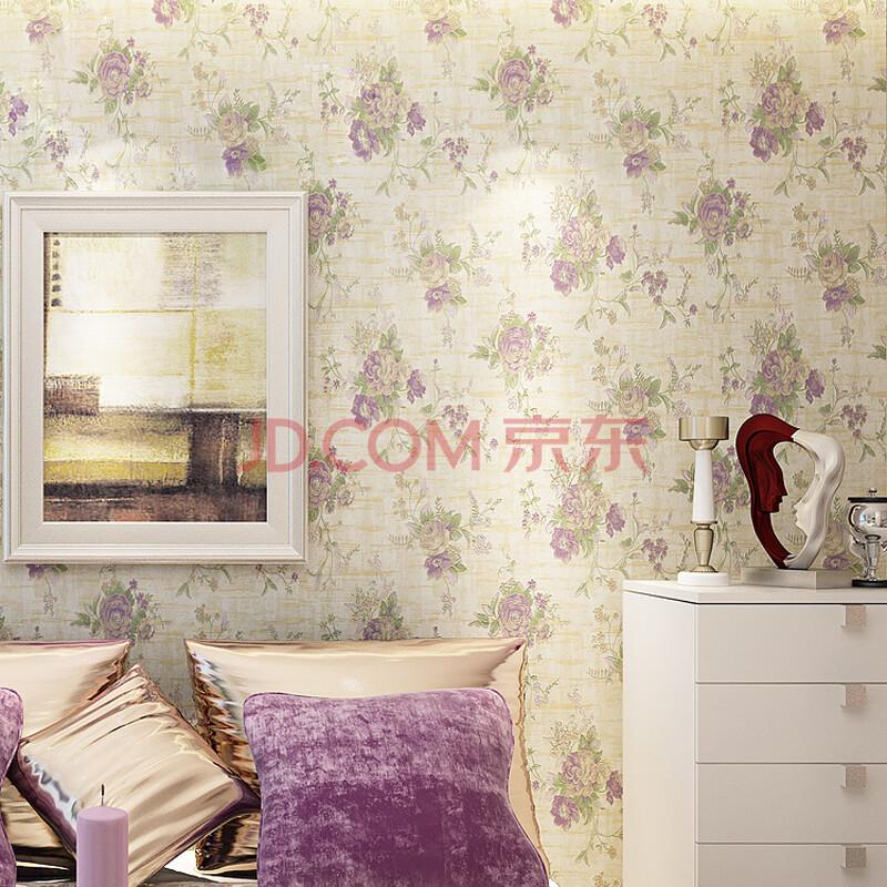 格林威尔 无纺布墙纸 田园美式风格 大花花壁纸 卧室电视背景墙纸壁纸图片