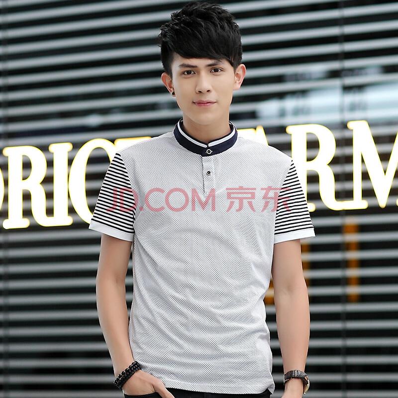 古邑骆驼 2014夏季新款男士短袖T恤波点立领修身体恤韩版男装T恤L1112