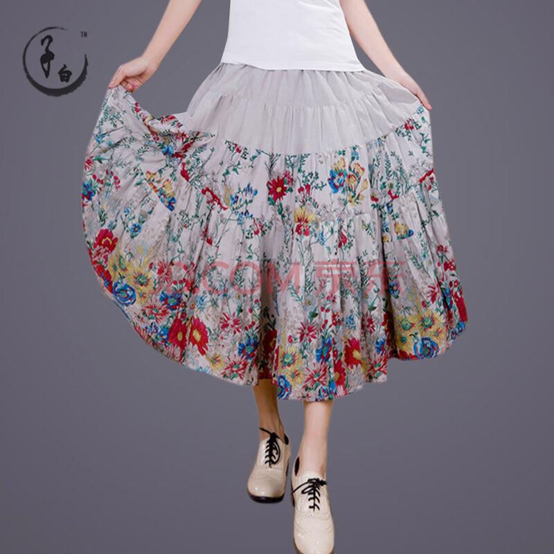 噜噜比比圣迪奥2014夏装新款女装碎花纯棉长裙子半身裙子3281154