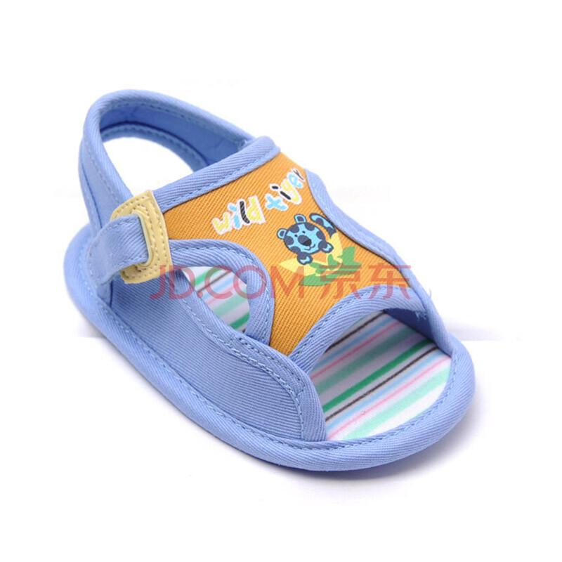 男宝宝鞋 婴儿鞋子软底童鞋 儿童凉鞋 防滑底 小老虎凉鞋蓝色 16码