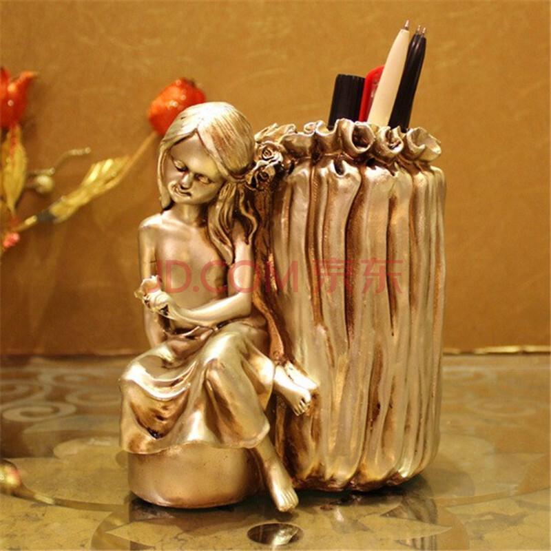 雅约欧式复古树脂工艺品书房书桌摆件创意笔筒办公桌装饰新房装修饰品图片