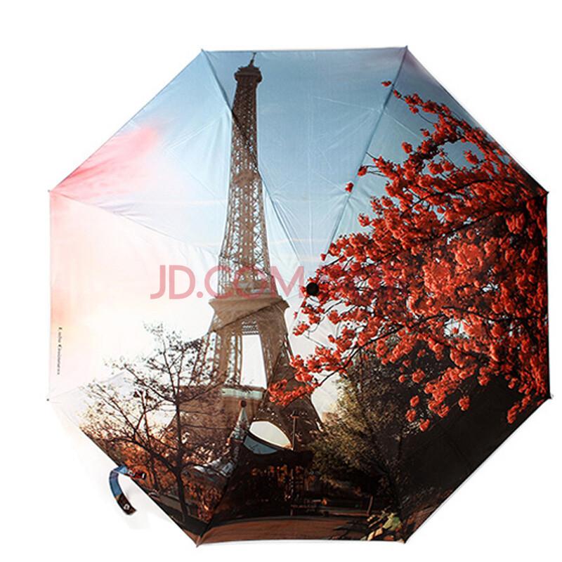 泰莲庭 巴黎铁塔樱花三折自动开收伞 巴黎铁塔樱花