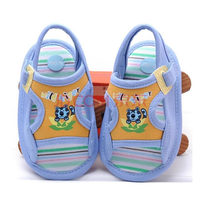 男宝宝鞋 婴儿鞋子软底童鞋 儿童凉鞋 防滑底 小老虎凉鞋蓝色 14码/12