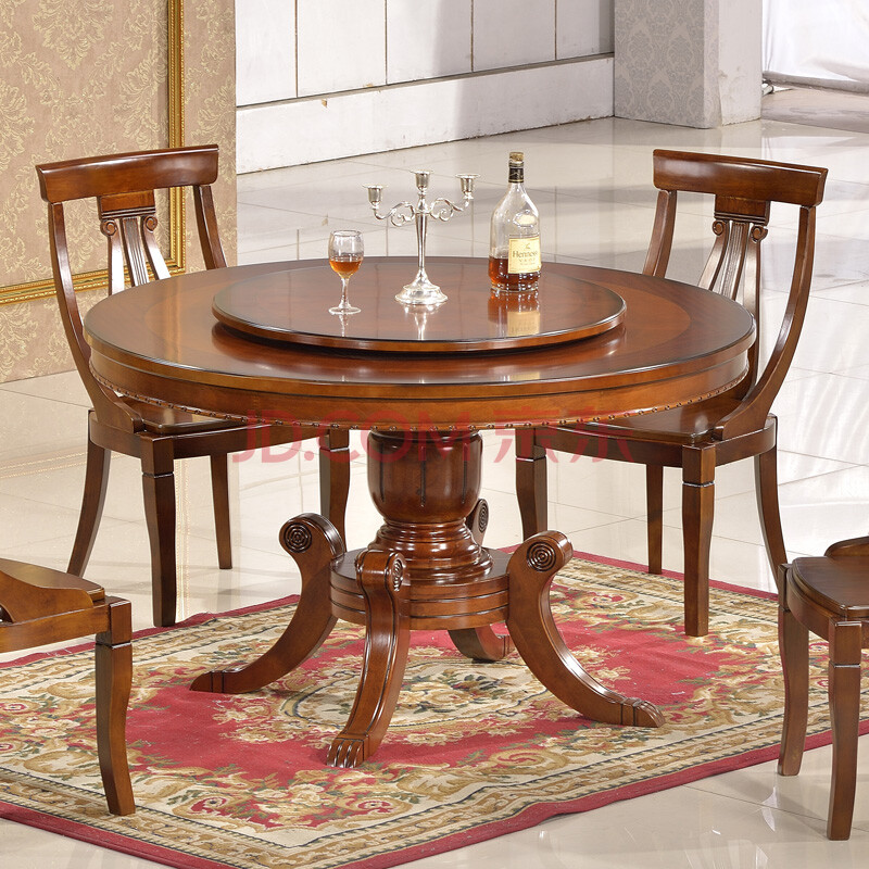 迪邦家具 美式乡村餐桌 实木圆餐桌 橡木圆形餐桌 深色餐桌 1.2/1.