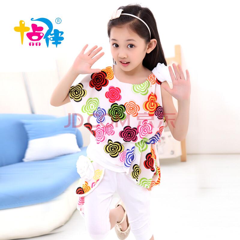 儿童短袖两件套中小童夏季衣服小女孩套装可爱淑女装