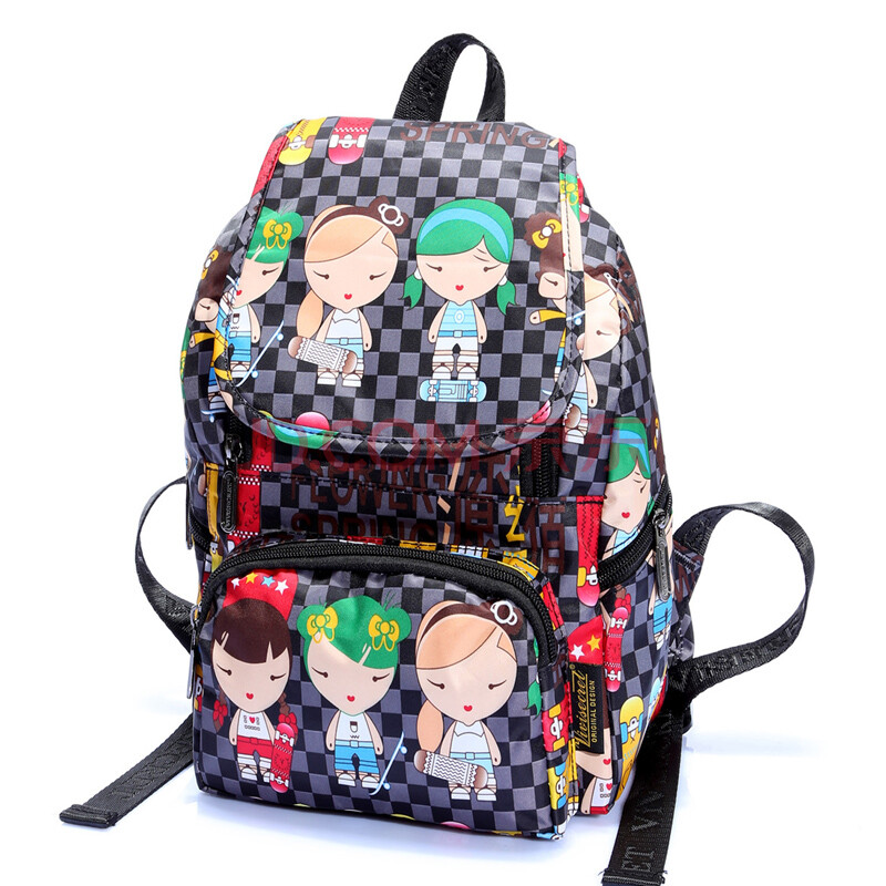 vivisecret新款韩版双肩幼儿园小书包原宿卡通男女儿童旅游小背包 黑