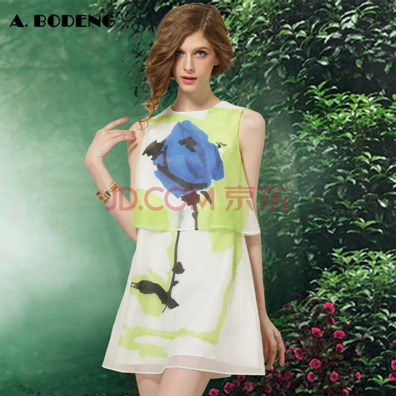 艾力波登2014夏装新款 假两件雪纺水墨印花无袖背心裙连衣裙