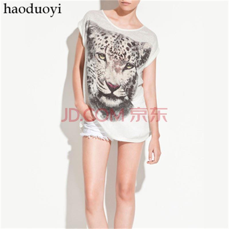 简约白底虎头图案 宽松女士老虎t恤 长款 白色6码全 haoduoyi 白色 xl