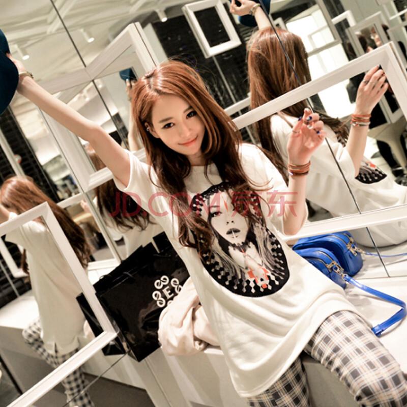 2014韩国代购范儿美女人头短袖t恤ffa049ad270041