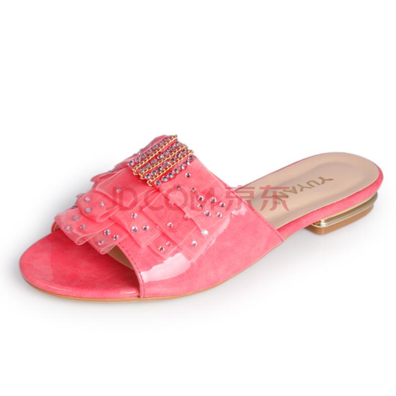 新款蕾丝水钻凉拖鞋