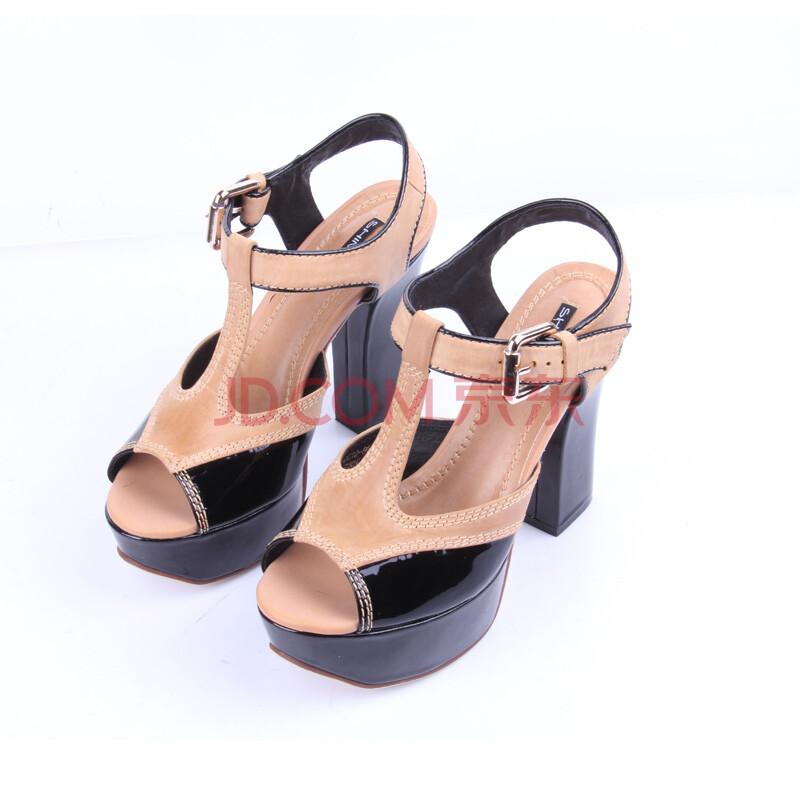 施萌欧美性感超高跟凉鞋女撞色罗马鞋鱼嘴鞋真皮防水