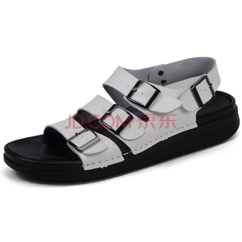 扣潮流男士凉鞋 韩版休闲拖鞋软牛皮沙滩鞋