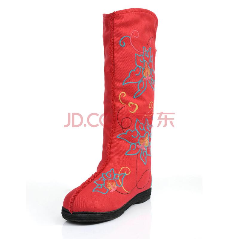 步福祥老北京布鞋 时尚绣花靴
