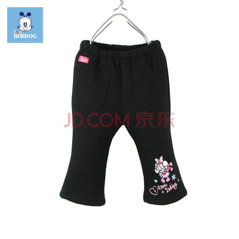 巴布豆(bobdog)黑色/v黑色舒适棉服/休闲裤21dzk429常规120(1104a)女童款长裤女图片