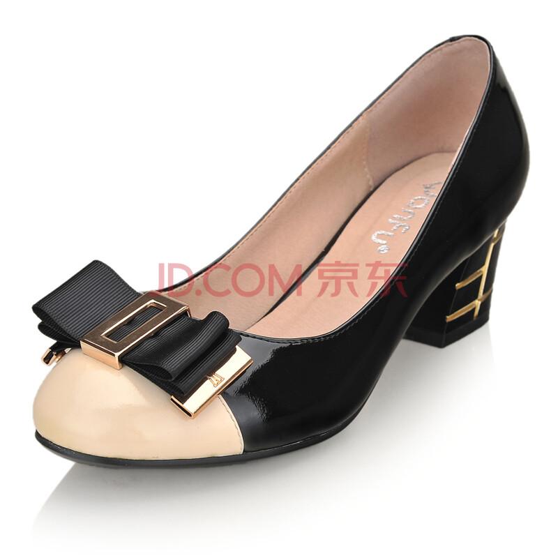 新款蝴蝶结粗跟女式鞋漆皮鞋圆头中跟单鞋