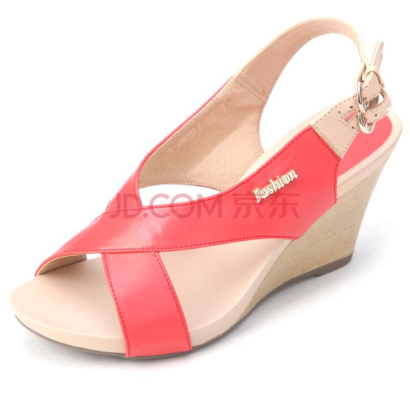 女凉鞋真皮坡跟高跟鞋