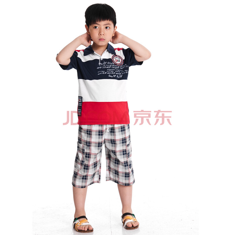 wa艺娃童装 夏装2012新款 男童夏装套装 儿童t恤 短袖 儿童短裤YXT