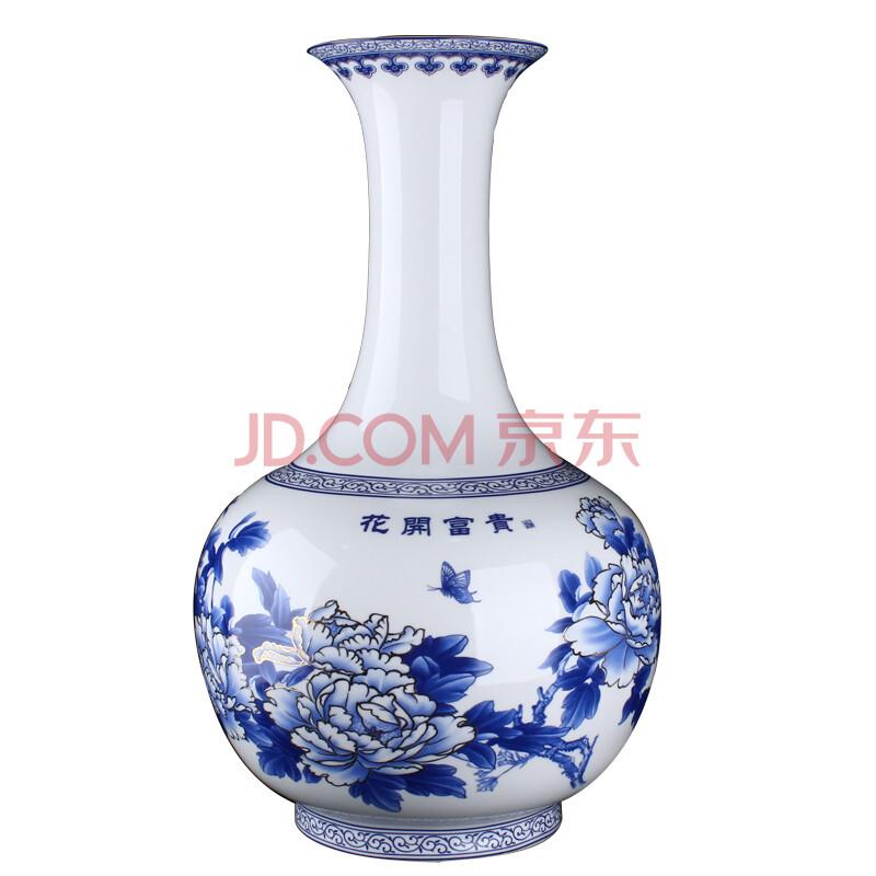 青花瓷花瓶图片_鸿轩景德镇陶瓷器青花瓷花瓶鱼尾瓶现代时尚