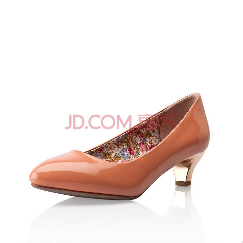 女鞋新品女士单鞋简约时尚中跟女单鞋