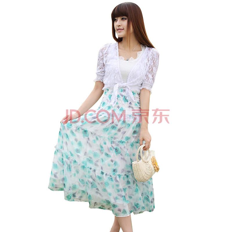 蝶恋 夏装蕾丝花边吊带坎肩两穿连衣长裙 三件套 连衣裙 高清图片