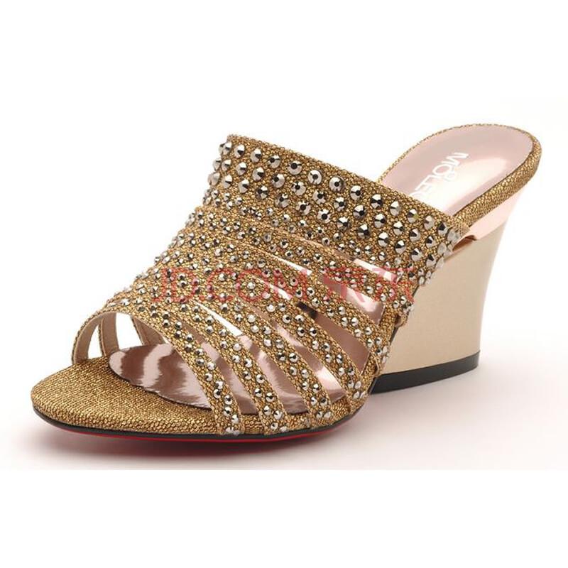 moolecole2012夏季新品罗马风时尚亮钻女凉鞋休闲坡跟凉拖鞋9986卡其