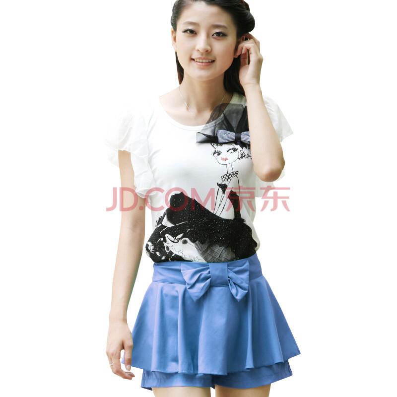 蝶恋 美女T恤+休闲波浪边裤裙套装TM 蓝色 1T