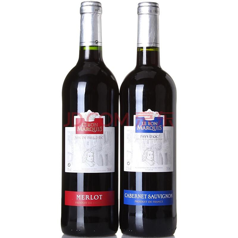 苏维�_法国博纳侯爵卡本纳苏维翁,梅洛干红葡萄酒 双支装 750ml*2瓶
