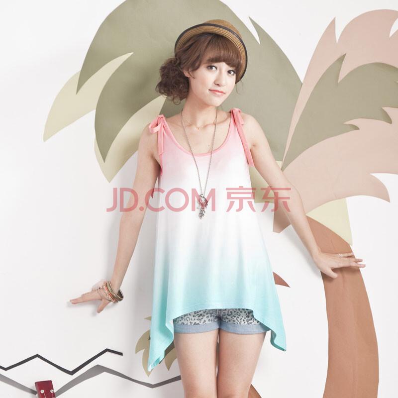 麦考林pink夏装欢乐假期时尚渐变色背心t恤女短袖