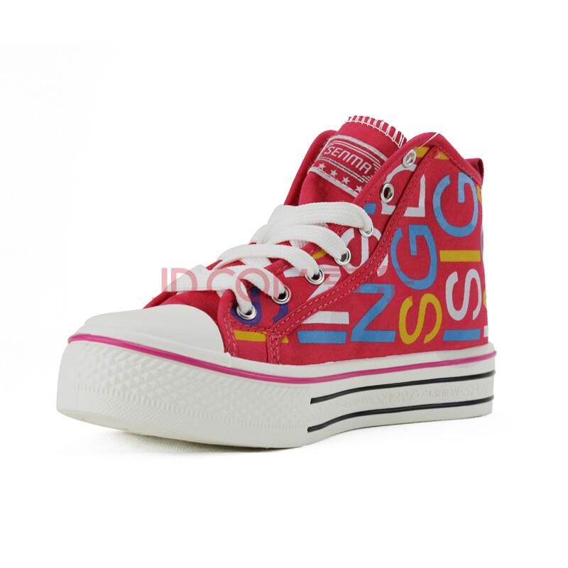 senma森马女鞋 新款高帮厚底休闲松糕女帆布鞋板鞋 bl2197317 红色 35图片